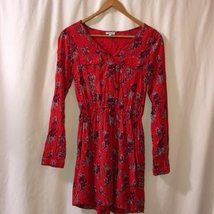 Red Patterned Youth Sized Tunic Blouse